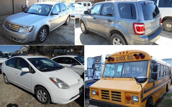 A variety of vehicles are up for auction.