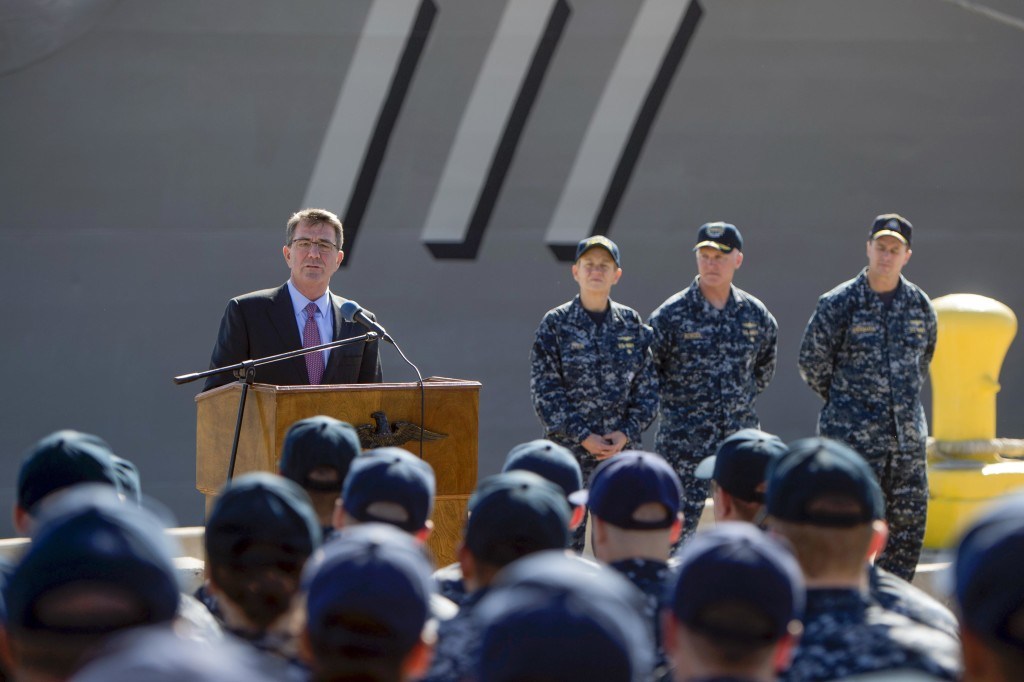 Secretary of Defense Ash Carter speaks to sailors during a troop event in San Diego. U.S. Navy photo by Mass Communication Specialist 1st Class Tim D. Godbee)