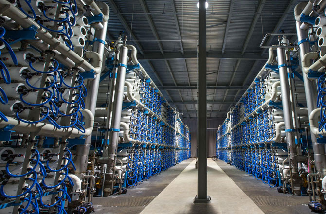 Inside the Carlsbad desalination plant.