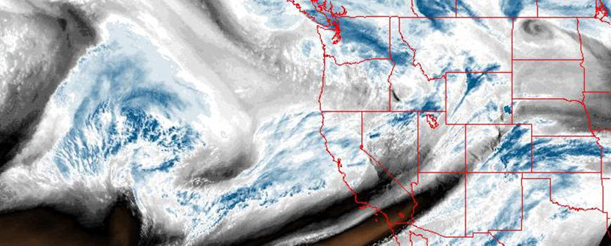 NOAA GOES satellite image of atmospheric water vapor, Feb. 19, 2016