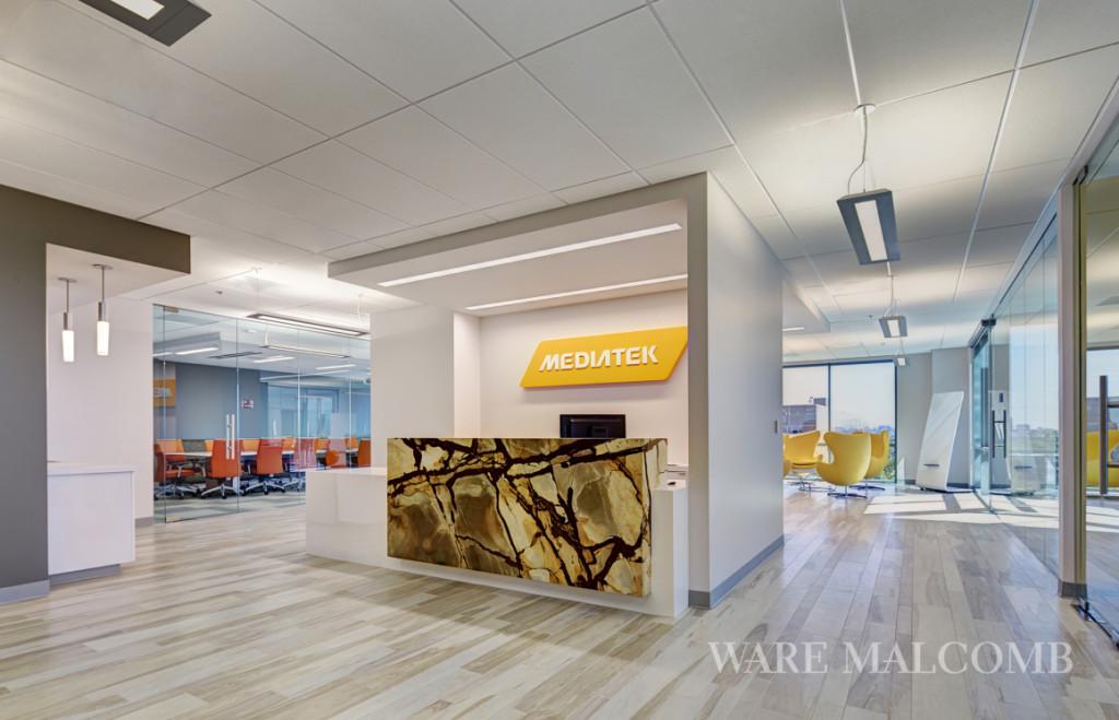 Reception desk at MediaTek's new offices
