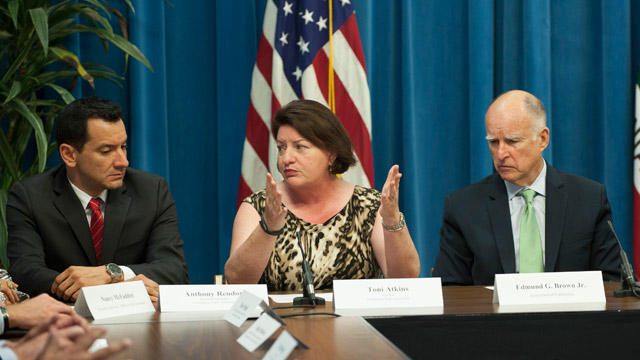 Anthony Rendon (left) with Assembly Speaker Toni Atkins and Gov. Jerry Brown. (Courtesy Rendon's office)