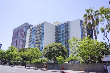 The San Diego Square Apartments. The red building to the left is Celadon, an affordable housing complex that opened last year.
