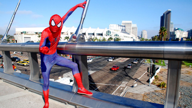 Spidey is Sam Conley of Montebello on bridge overlooking Comic-Con at the San Diego Convention Center.