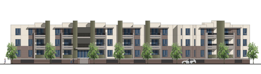Rendering of the planned 90-unit affordable housing community.