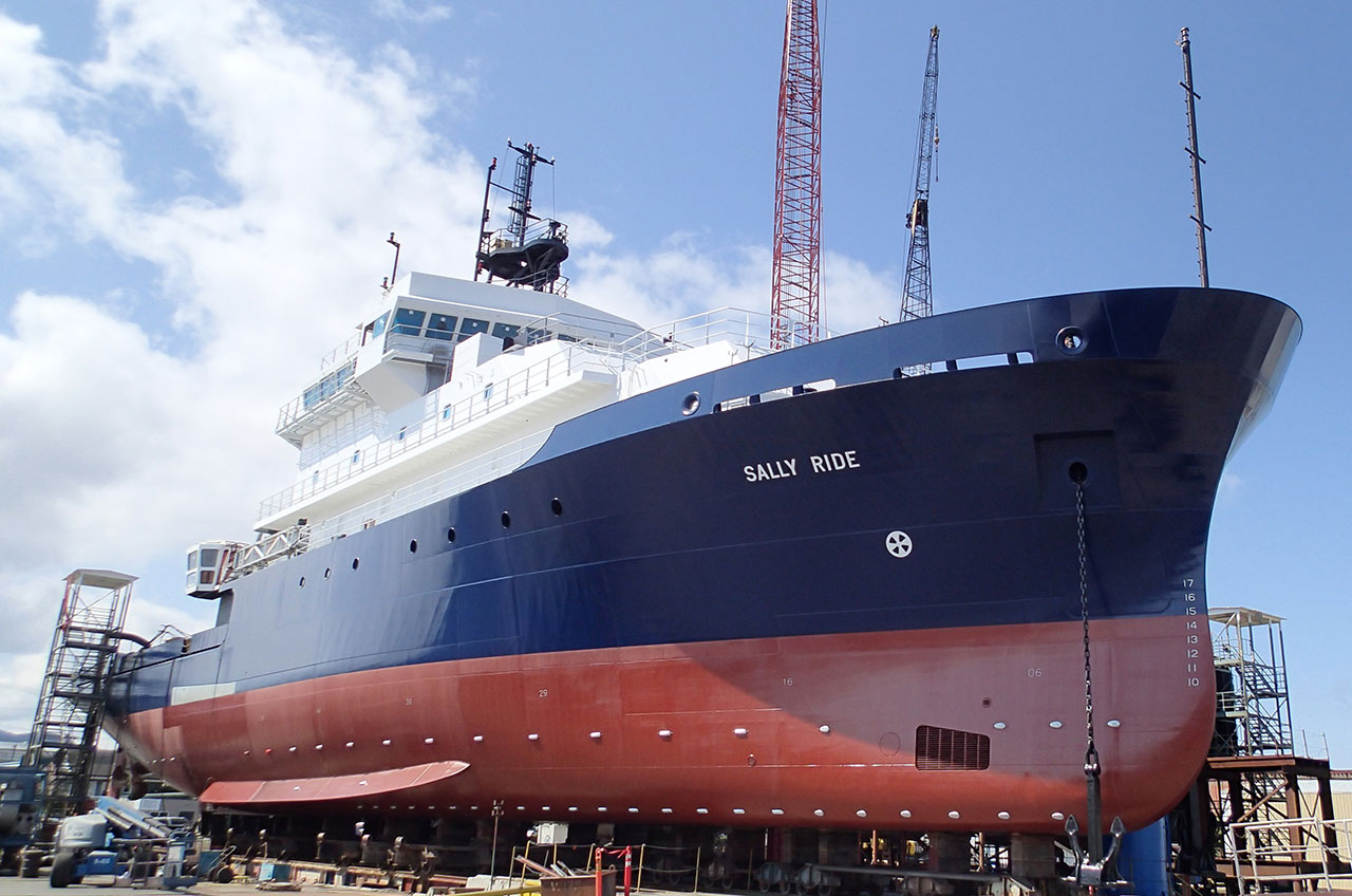 The R/V Sally Ride will arrive later this year at the Nimitz Marine Facility.