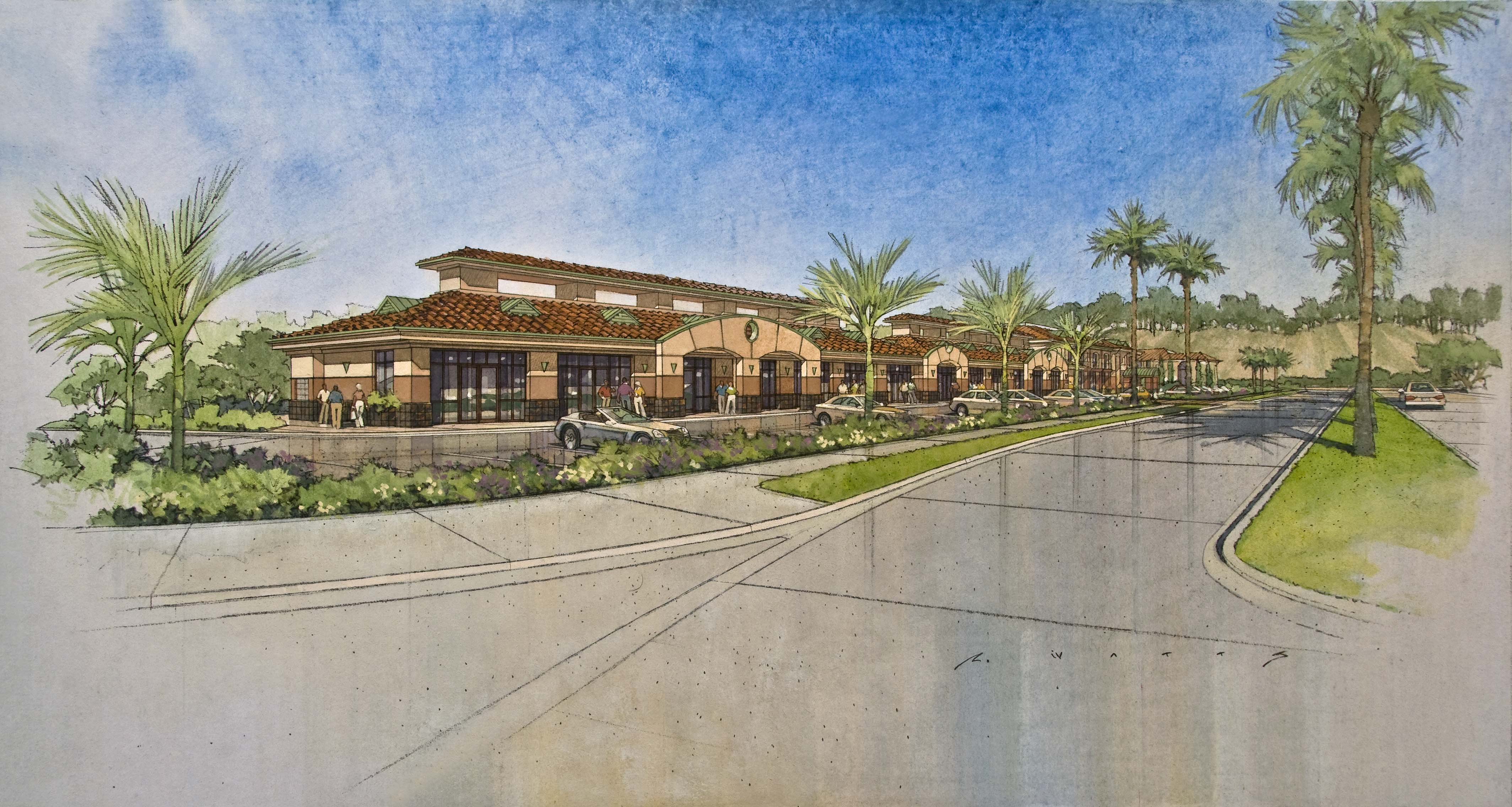 Rendering of the planned retail building.