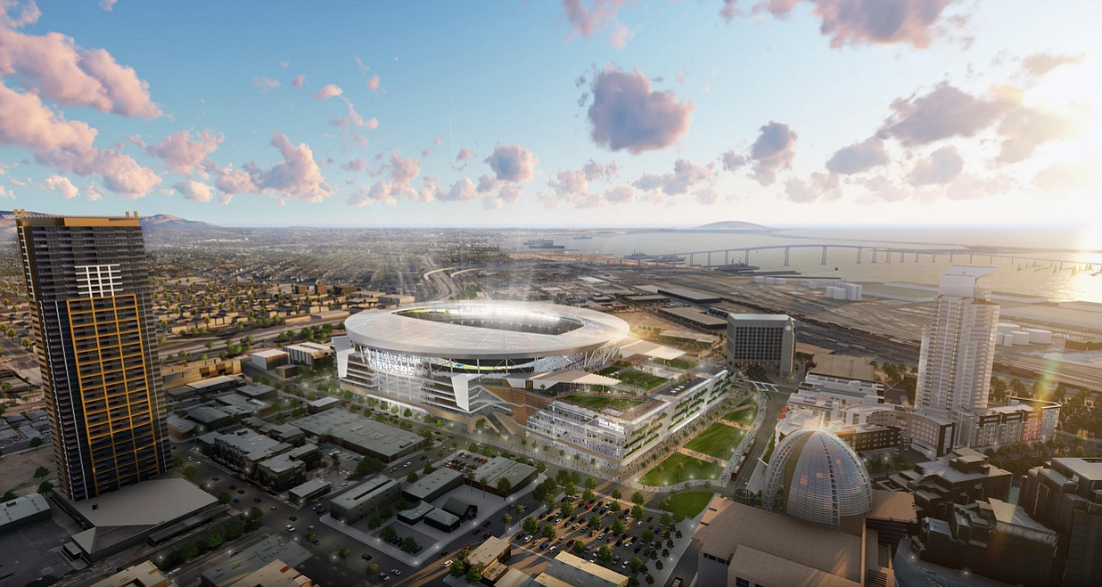 Concept design of the new Chargers stadium. (Credit: Manica Architecture)