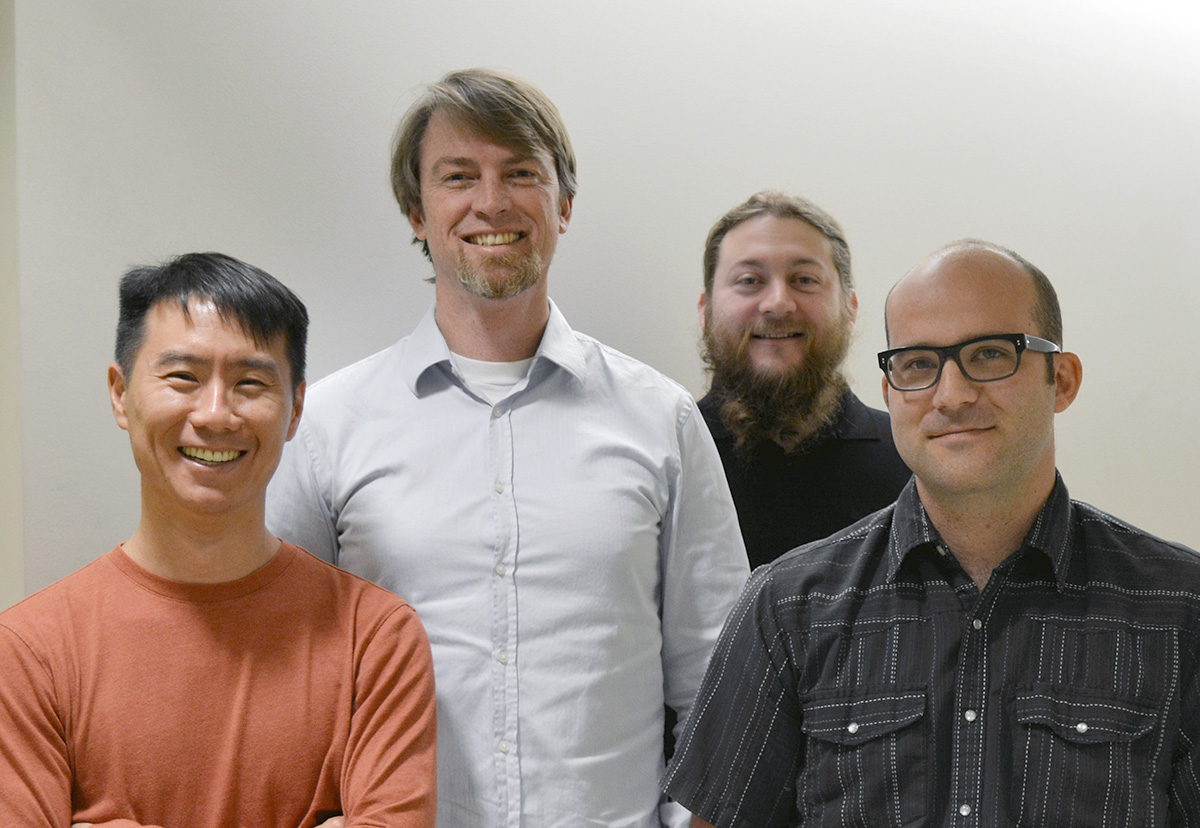 The Scripps Research team includes, from left, Andrew Su, Benjamin Good, Sebastian Burgstaller-Muehlbacher and Tim Putman.