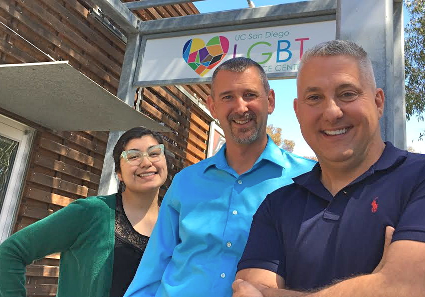 From left, UC San Diego LGBT Resource Center Assistant Director Maribel Gomez and Director Dr. Shaun Travers with SDGMC Executive Director Bob Lehman.