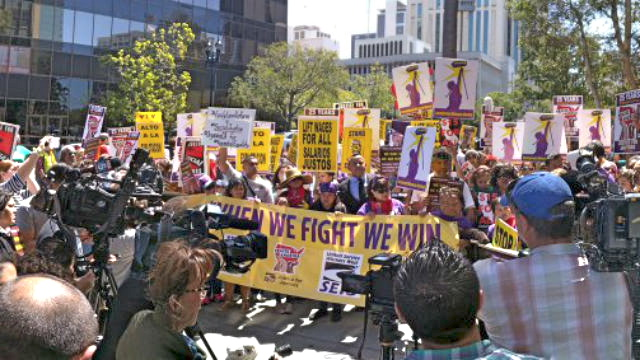 Janitors and other low-wage workers rally in Downtown San Diego. (Courtesy SEIU Local 221)