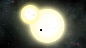 Artist's impression of Kepler-1647 b transiting in front of its two suns. (Courtesy SDSU)