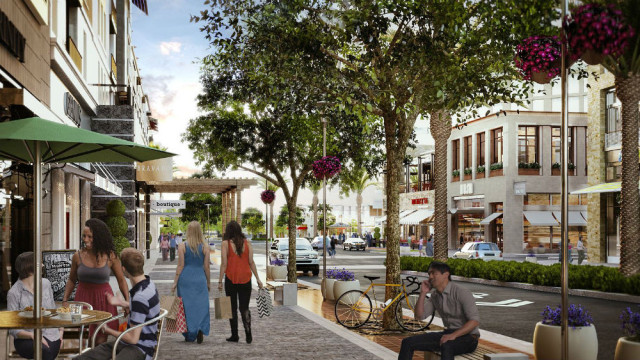 Artist's rendering of One Paseo's main street. (Courtesy Kilroy Realty)