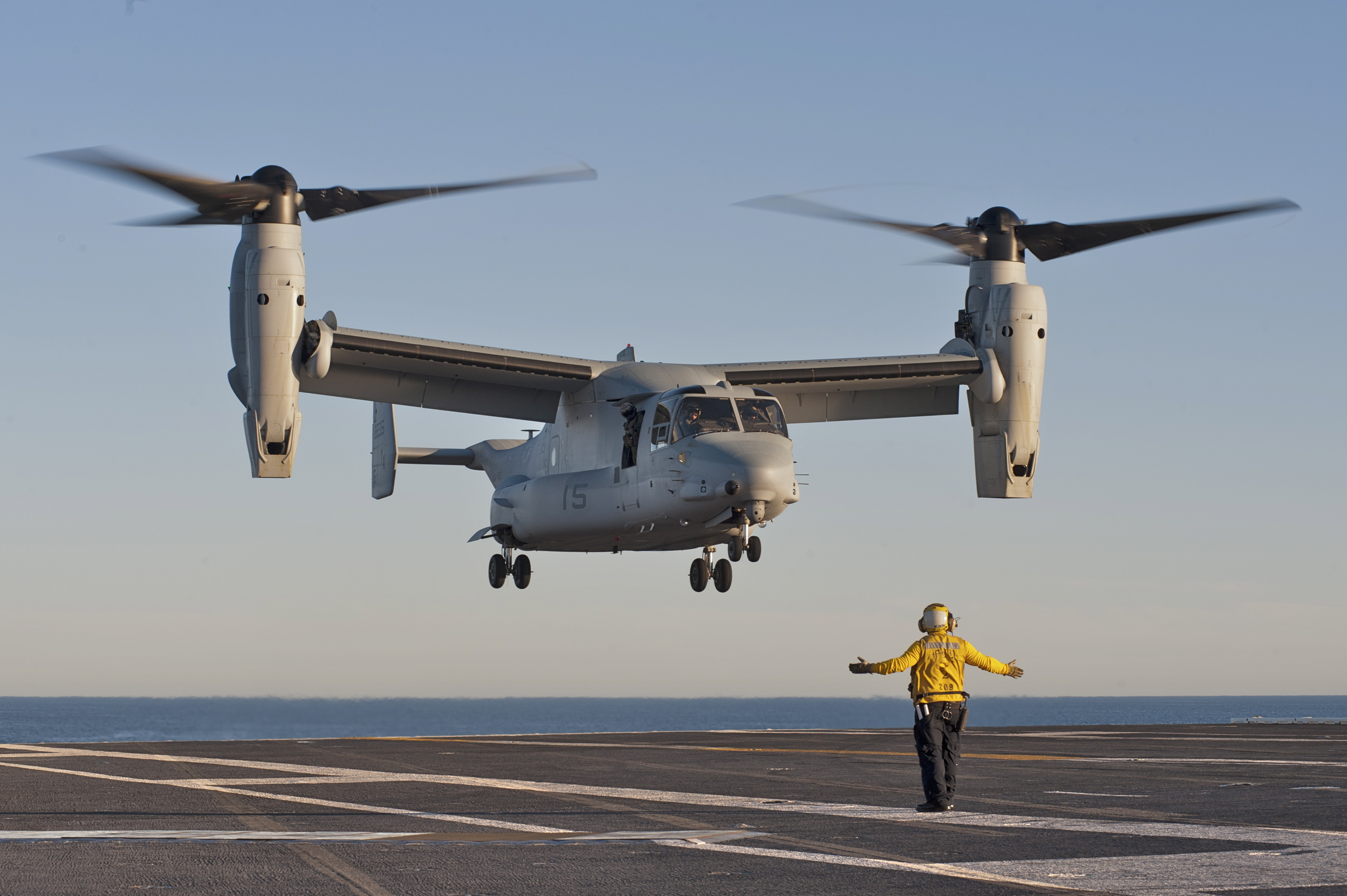 An MV-22 Osprey approaches for a touch-and-go landing on the flight deck of the aircraft carrier USS Carl Vinson in this photo, dated Feb. 16, 2013.  (U.S. Navy photo by Mass Communication Specialist 3rd George M. Bell)