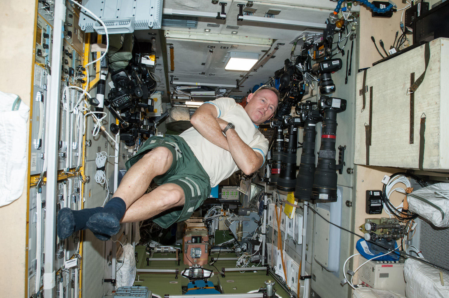 NASA Commander Barry (Butch) Wilmore enjoys zero gravity aboard the International Space Station.