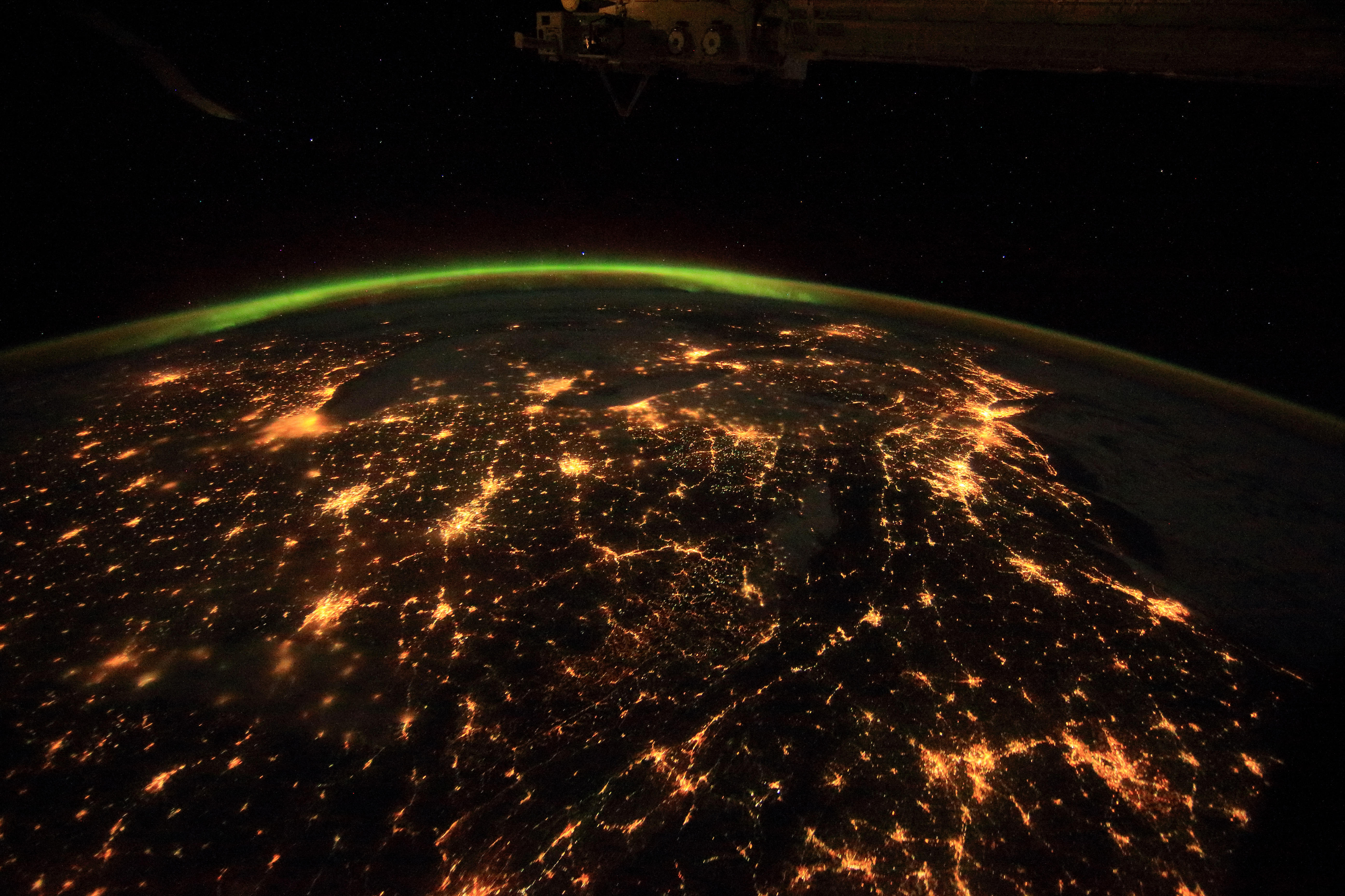 The entire northeast of Canada, the United States and beyond as seen from the International Space Station.