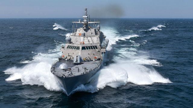 The USS Detroit at sea. (Navy photo)