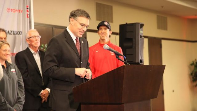 John David Wicker speaks at the press conference announcing his hire. (Courtesy SDSU)