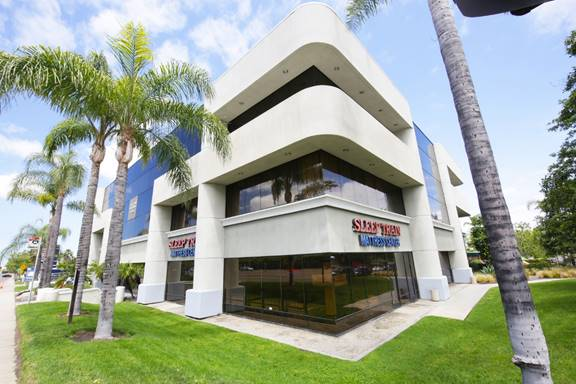 The Clayton Building, a 39,170 square-foot, three-story atrium office building located in the Miramar area of San Diego.