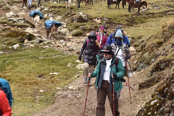 Machu Picchu hikers along the trail.