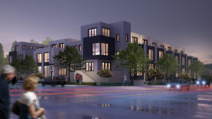 XPO townhomes night view. (Rendering by The McKinley Associates)