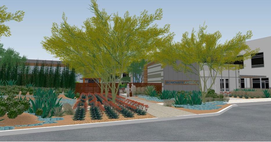 Rendering of building Swift Real Estate Partners plans to build for tenant Renovate America.