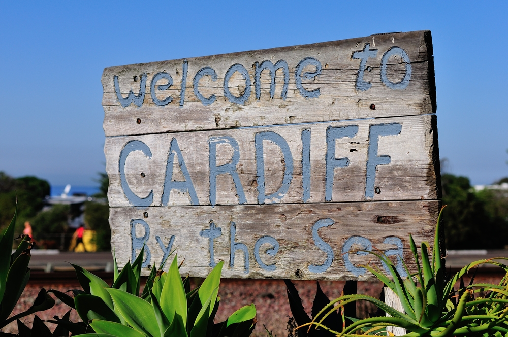 Invitation sign on the road to Cardiff-by-the-Sea (Credit: Anton Dotsenko/Shutterstock.com)