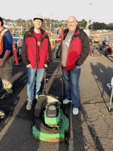 David Rowe and son, Tyler at the lawnmower exchange.