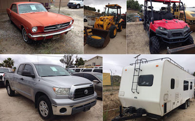 The surplus vehicles and government property come from the county and other local agencies.