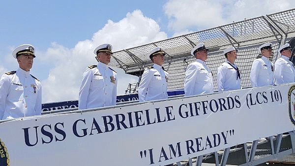 The crew of the USS Gabrielle Giffords at her christening. (U.S. Navy photo by Senior Chief Mass Communication Specialist Michael D. Mitchell)