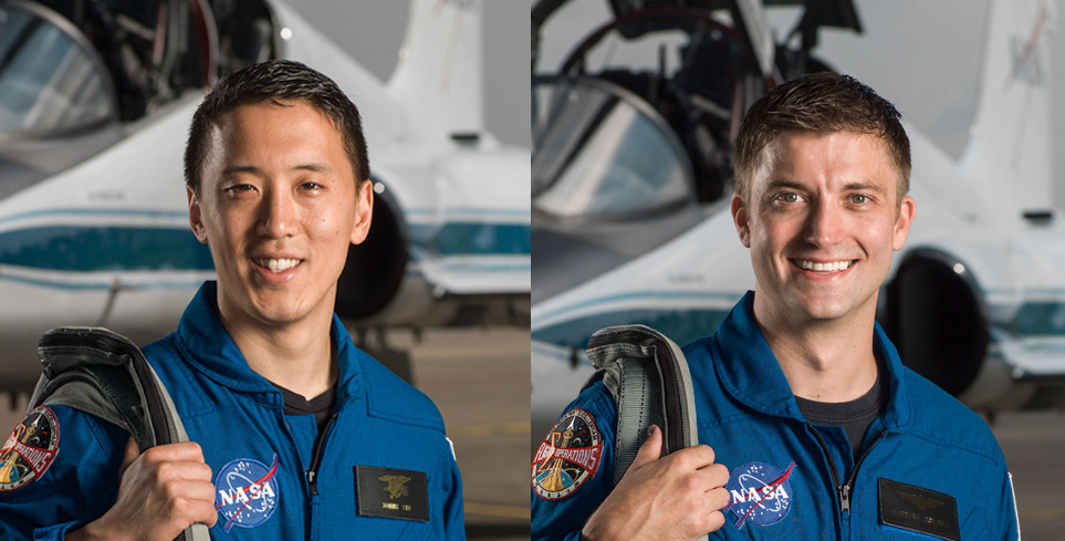 USD alumni Jonathan Kim, left, and Matthew Dominick, right, were among 12 new astronaut candidates honored at a welcoming ceremony at the Johnson Space Center.