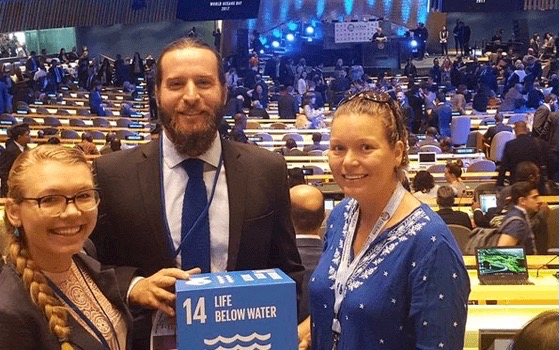 From left, Scripps students Natalya Gallo, Matt Costa, and Lynn Waterhouse at Ocean Conference at UN headquarters in New York.