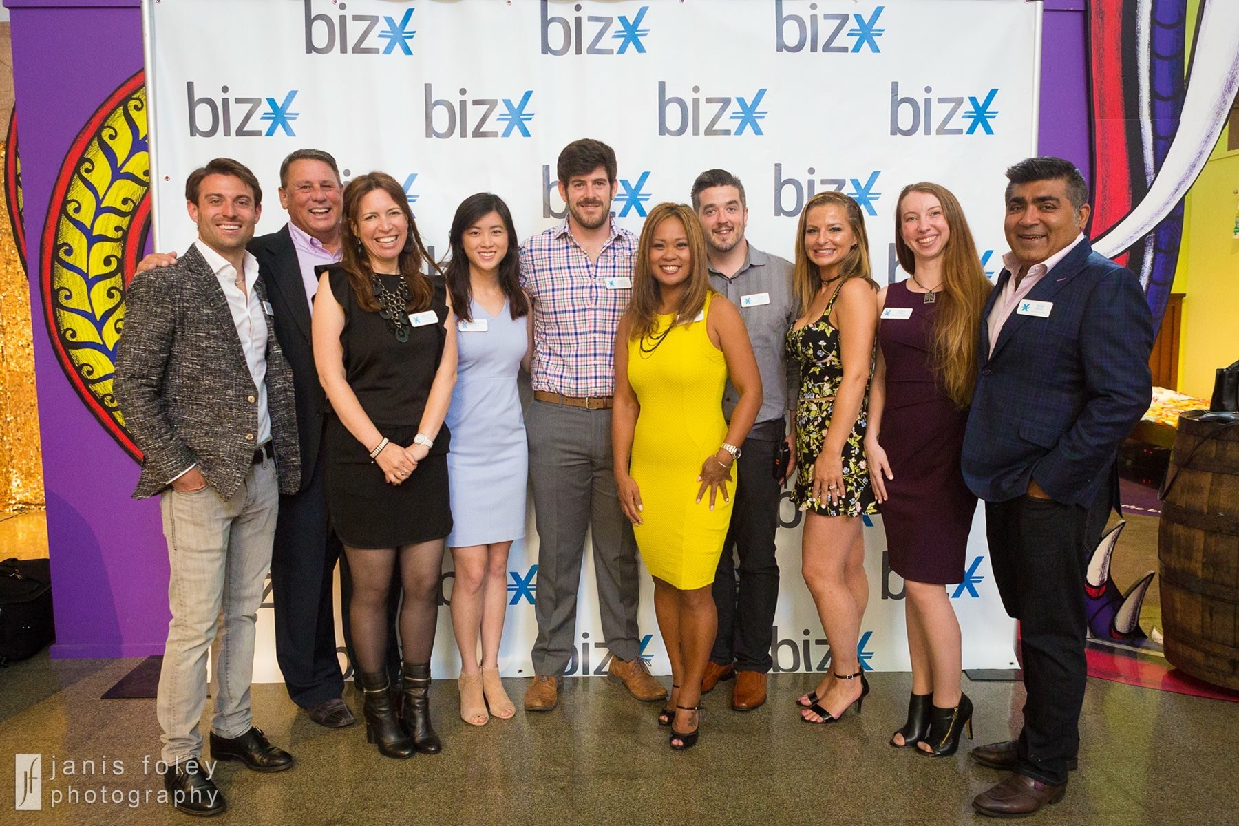 Members of the BizX San Diego, San Francisco, and Seattle teams gather for the San Diego community launch event.