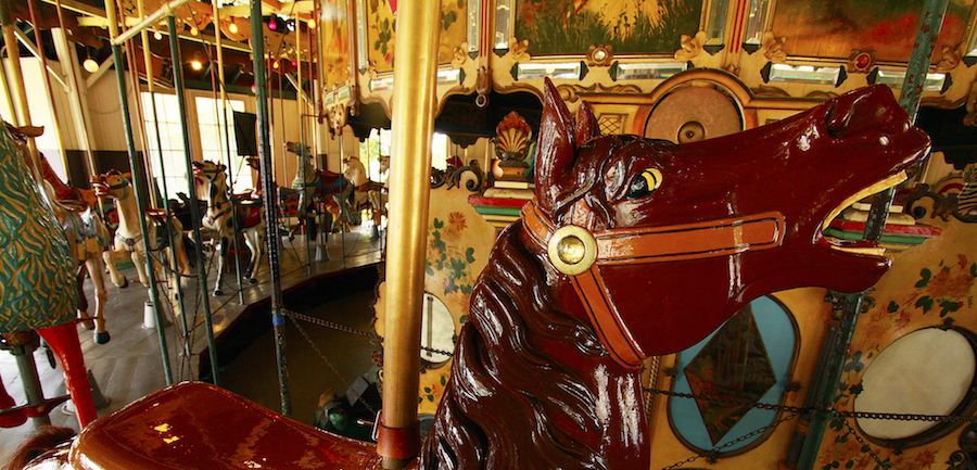 The colorful, hand-carved, antique carousel, which still has nearly all of its original animals, was awarded the National Carousel Associations's first Historical Carousel Award in 1994. (Courtesy of the Balboa Park Online Collaborative and Richard Benton)