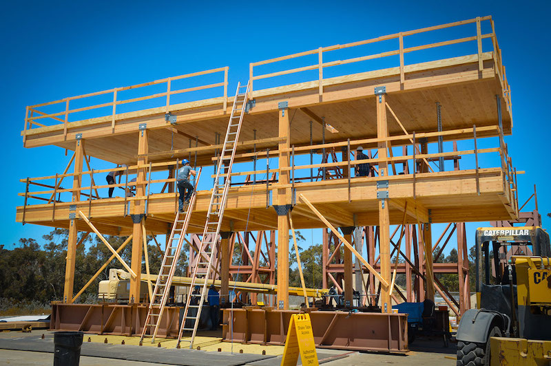 Researchers tested a two-story wooden structure at the UC San Diego shake table. (Photo courtesy of UC San Diego)