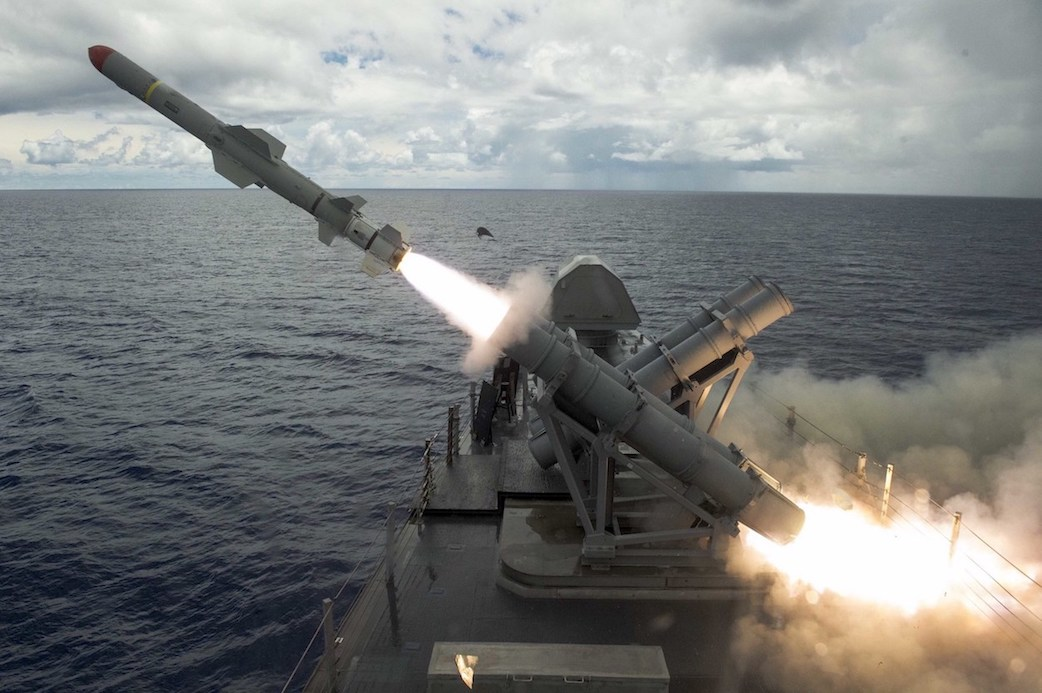 A harpoon missile launches from the missile deck of the littoral combat ship USS Coronado off the coast of Guam on Aug. 22. (U.S. Navy photo)