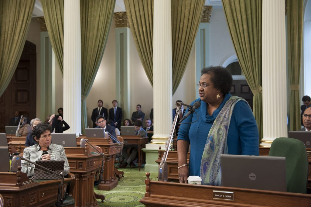 Shirley Weber on the Assembly floor.