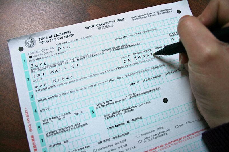 Voter registration form for San Mateo County.