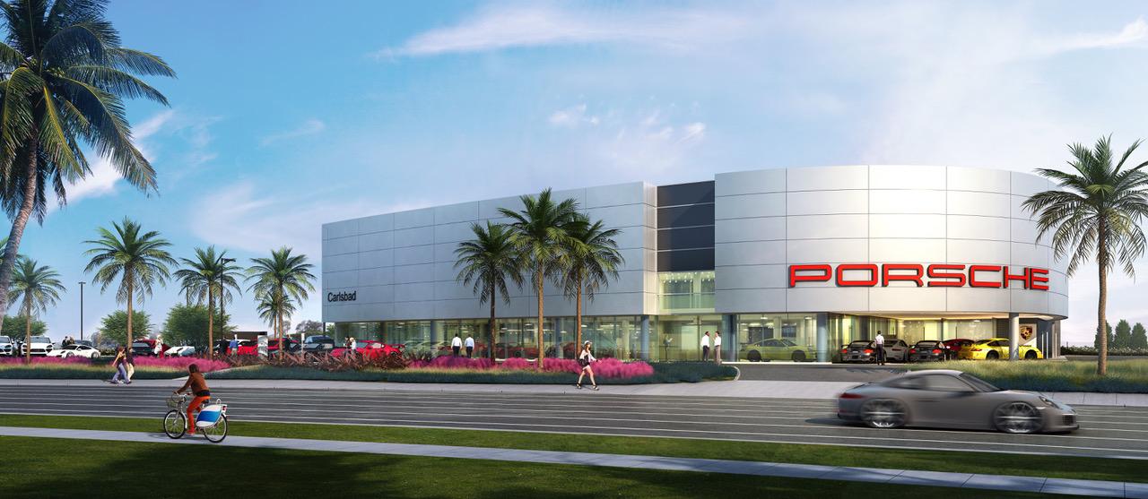 Hoehn Porsche Dealership rendering. (Photo courtesy of Gensler)