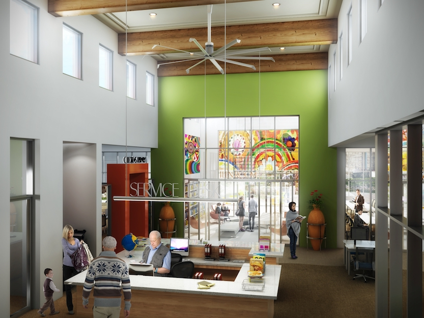 Artist's rendering of the interior of the San Ysidro Public Library. (SVA Architects Inc.)