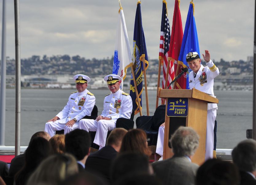 Vice Adm. Nora W. Tyson waves at Saturday's change of command ceremonies. She is retiring after 38 years of service. (U.S. Navy photo by Mass Communication Specialist Seaman Natalie M. Byers)