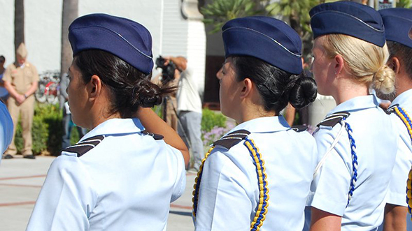 Women in the U.S. military at a ceremony on the SDSU campus. (Credit: SDSU)
