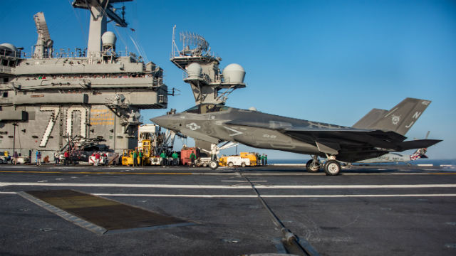 F-35 Joint Strike Fighter on the USS Carl Vinson.