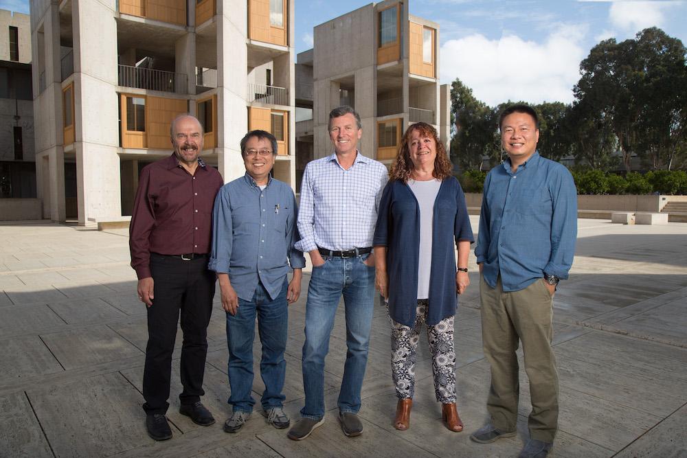 From left: Joseph Ecker, Kuo-Fen Lee, Ed Callaway, Margarita Behrens and Xin Jin. (Image credit: Salk Institute)