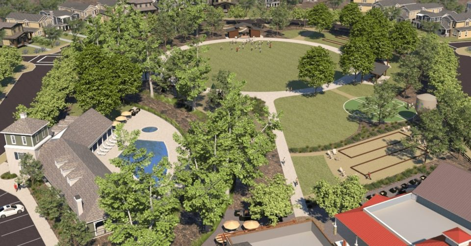Artist's rendering of proposed Park Circle's public park in Valley Center. (Image credit: Touchstone Communities)