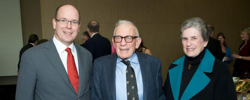 Prince Albert II of Monaco, Walter Munk and Mary Coakley Munk. (Courtesy of Scripps Institution of Oceanography)