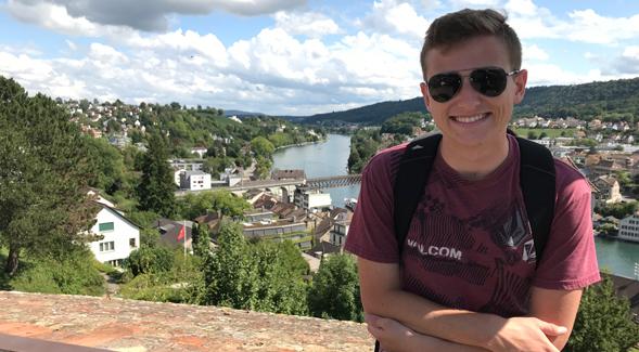 SDSU student Brandon Einstoss in Switzerland. (Courtesy SDSU)