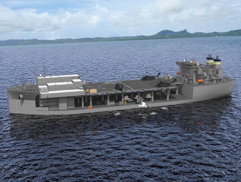 A 3D model of the Expeditionary Sea Base ship. (Photo: NASSCO)