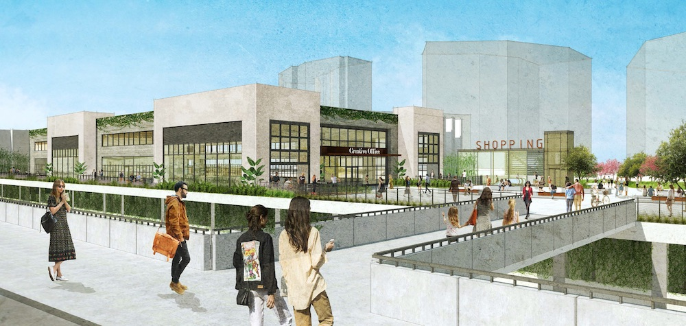 Rendering shows Mid-Coast Trolley riders exiting the UTC station platform onto Regency Center's proposed rooftop park that welcomes riders to their center.