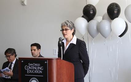 Michelle Fischthal speaks at the grand opening of San Diego Continuing Education's North City campus in San Diego.